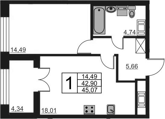2-к.кв (евро), 47.24 м²