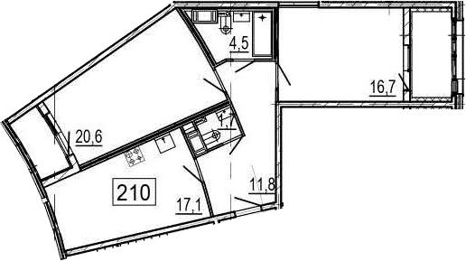 3Е-комнатная квартира, 76.4 м², 6 этаж – Планировка