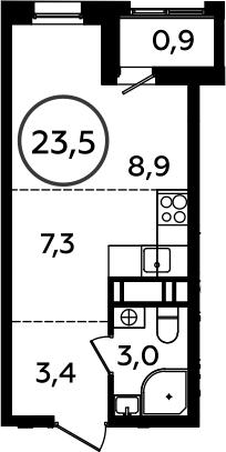 Студия, 23.5 м²– 2