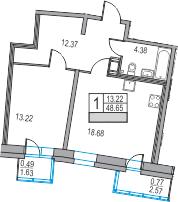 2Е-комнатная, 48.65 м²– 2