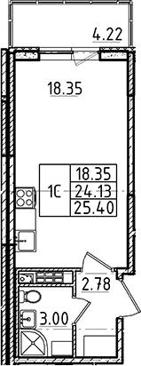 Студия, 24.13 м²– 2
