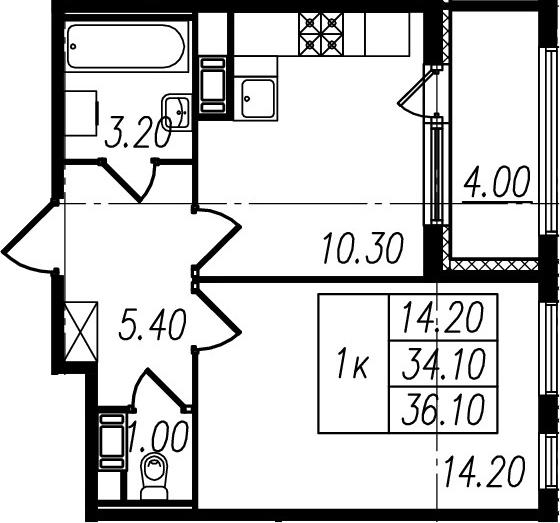1-к.кв, 34.1 м², 4 этаж