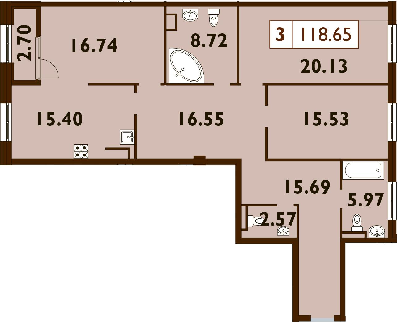 4Е-комнатная, 118.65 м²– 2