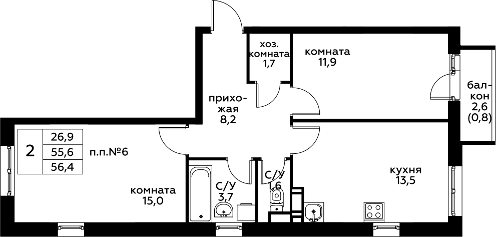 2-к.кв, 58.27 м²