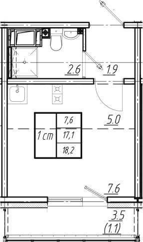 Студия, 18.2 м², от 10 этажа