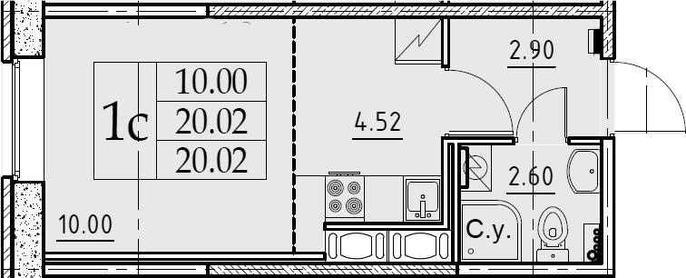 Студия, 20.02 м²– 2