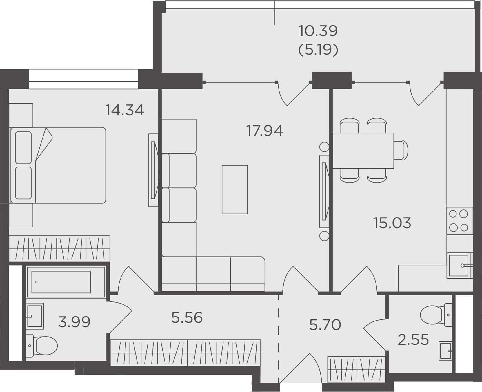 2-к.кв, 70.3 м², 5 этаж
