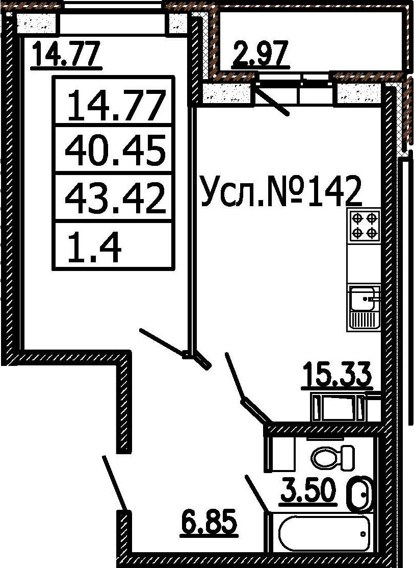 2-к.кв (евро), 43.42 м²