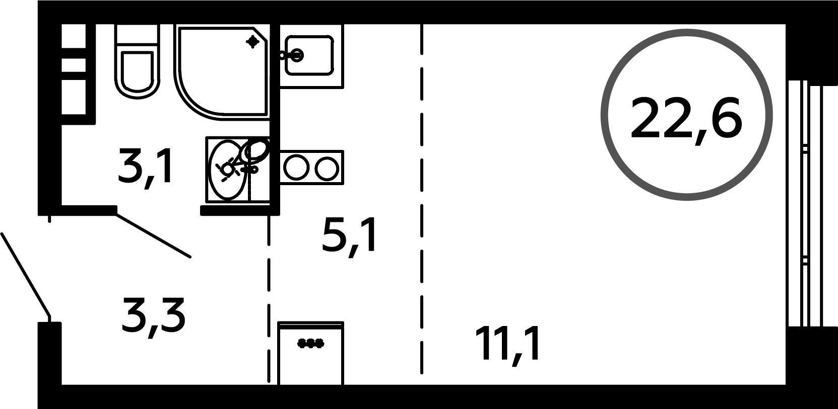 Студия, 22.6 м²– 2