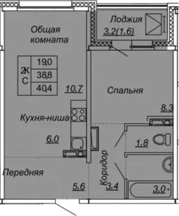 2Е-к.кв, 40.4 м², от 5 этажа