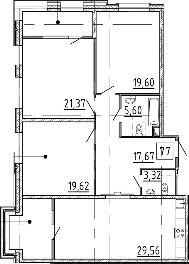4Е-комнатная, 131.54 м²– 2