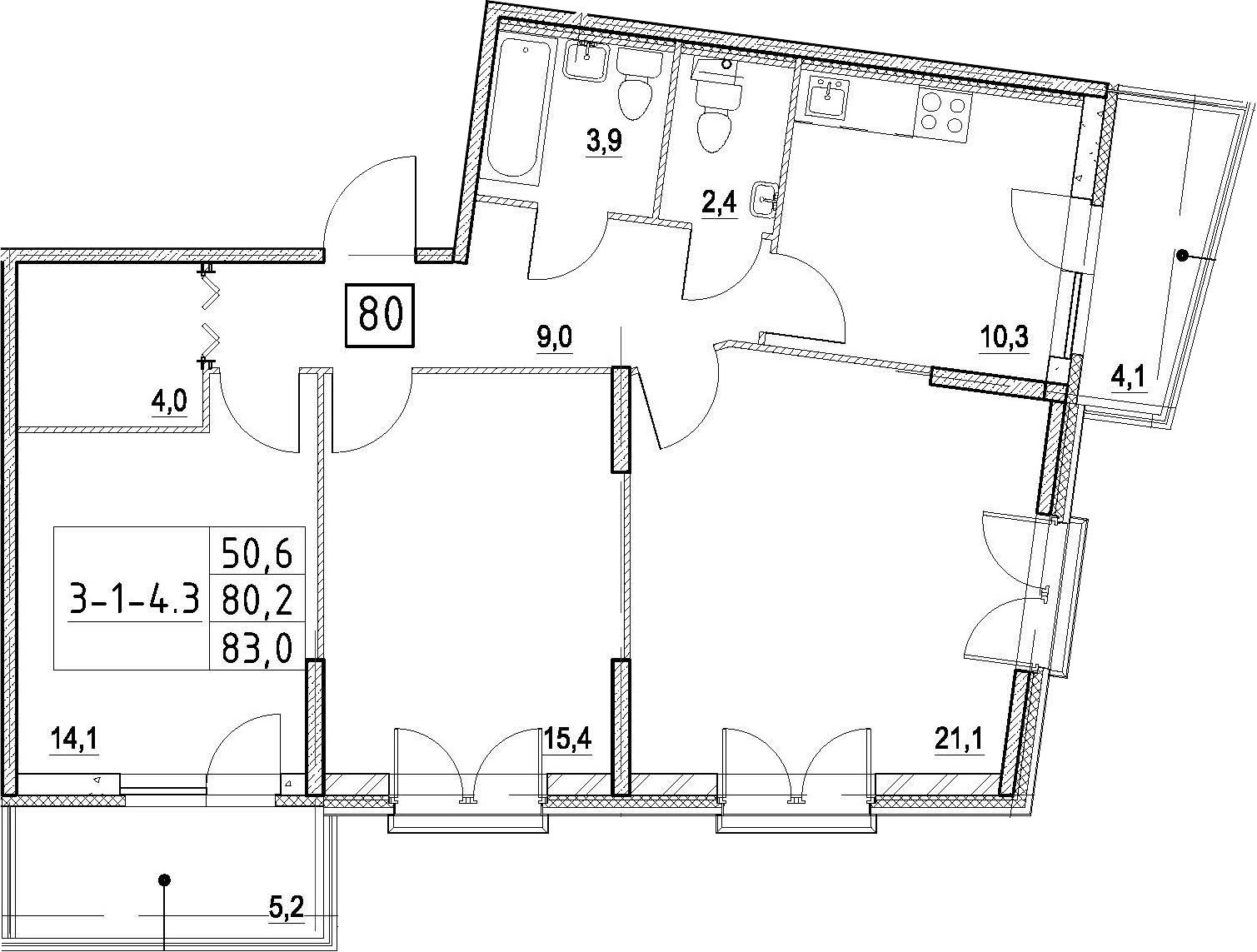 3-к.кв, 83 м²