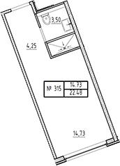 Студия, 22.48 м²