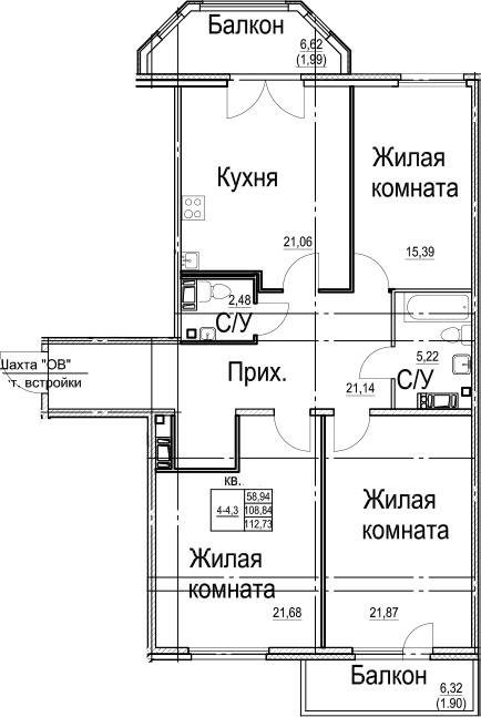 3-к.кв, 121.8 м²