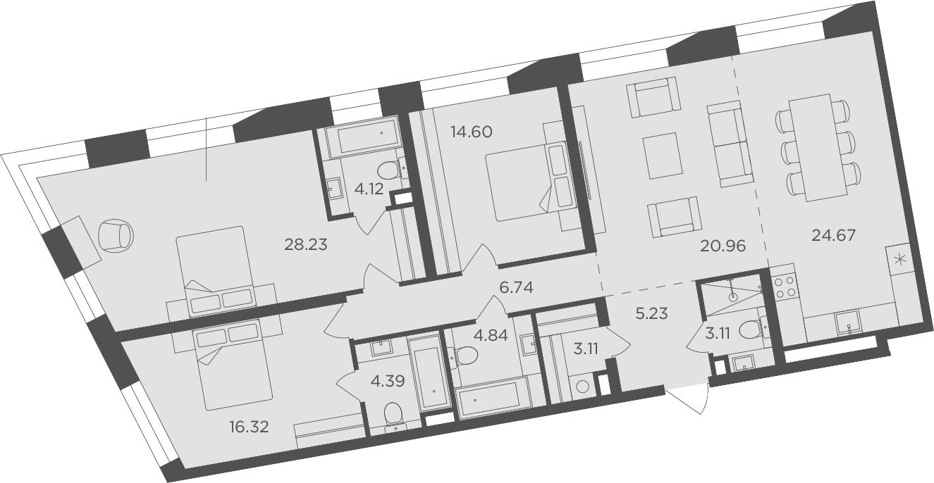 4-к.кв, 136.32 м²