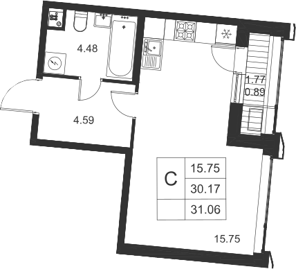 Студия, 31.95 м²