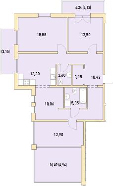 3-к.кв, 126.87 м²