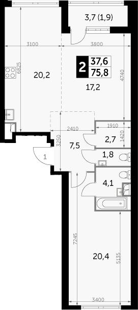 2-к.кв, 77.7 м²