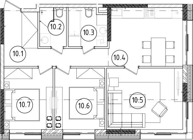 3-к.кв, 65.02 м²