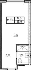 Студия, 25.93 м²– 2