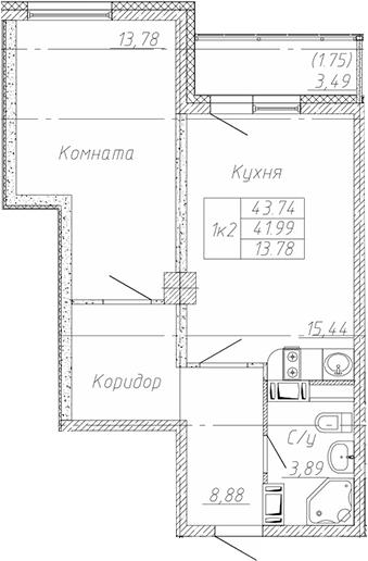 2-к.кв (евро), 45.49 м²