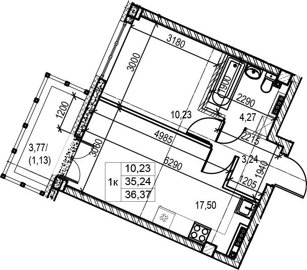 2Е-к.кв, 36.37 м²
