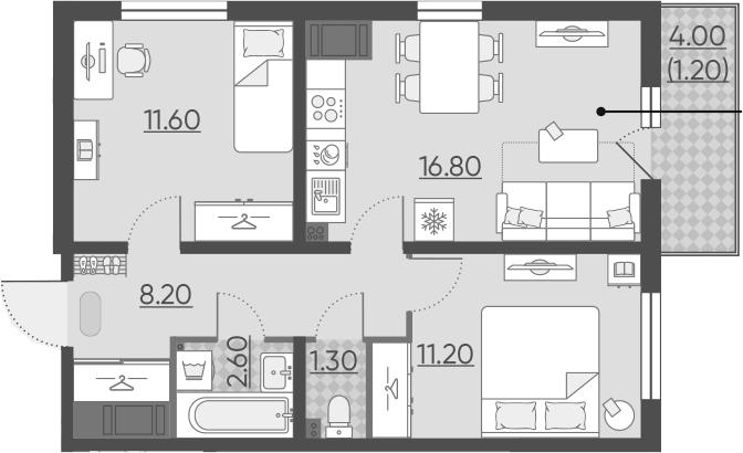 3Е-к.кв, 52.9 м², 16 этаж