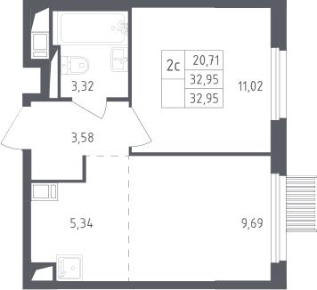 2Е-комнатная, 32.95 м²– 2