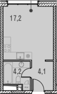 Студия, 25.5 м²