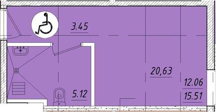 Студия, 20.63 м²