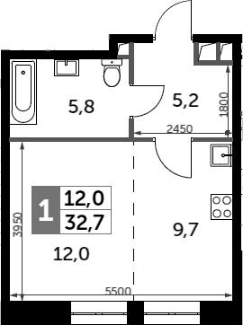 Студия, 32.7 м²– 2