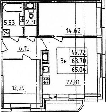 3Е-к.кв, 65.04 м²