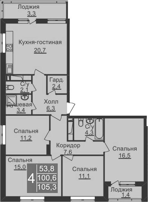 5-к.кв (евро), 110 м²