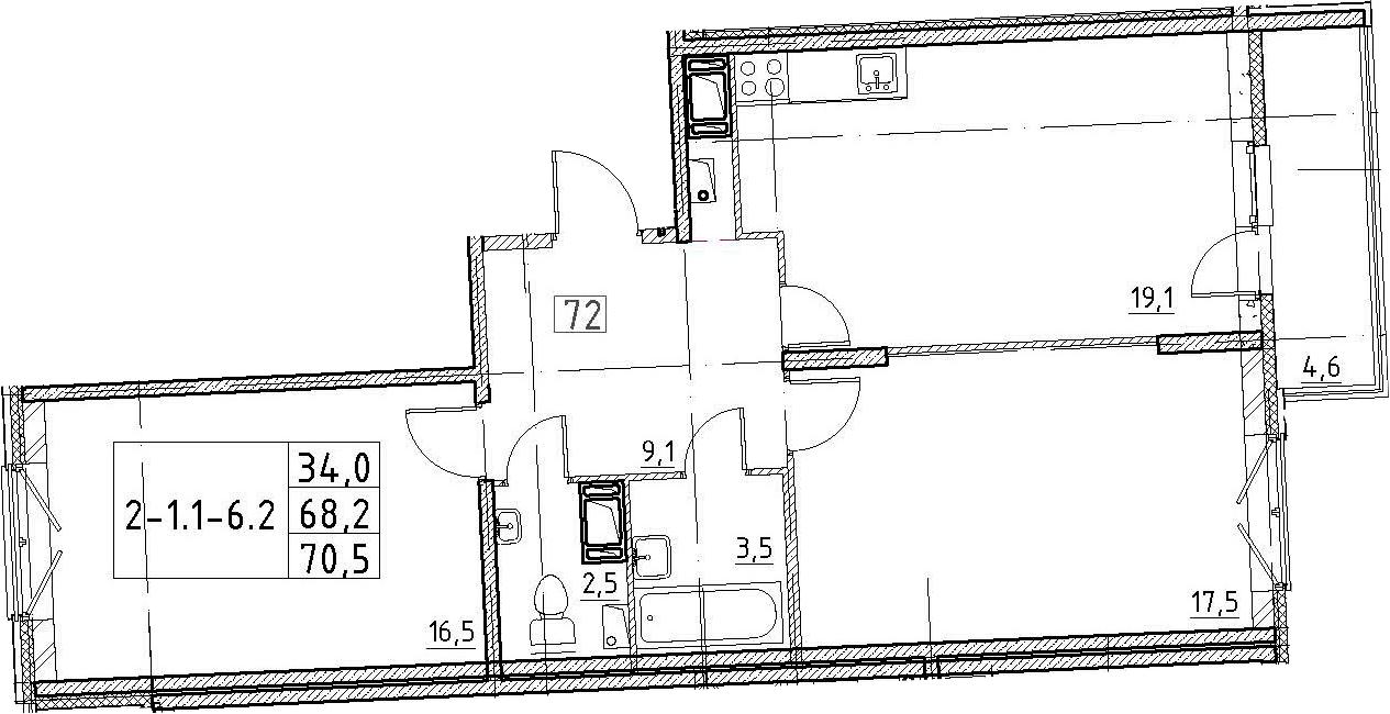 3Е-к.кв, 70.5 м², 3 этаж