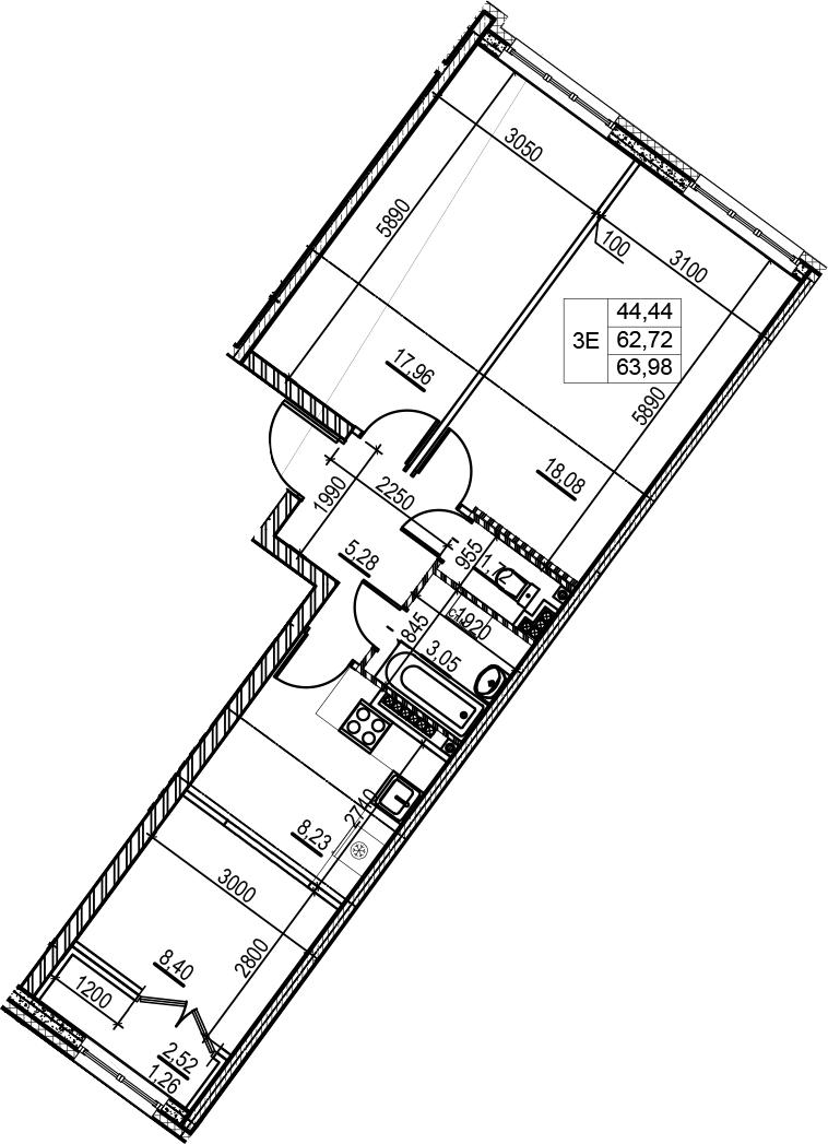 3Е-комнатная, 63.98 м²– 2
