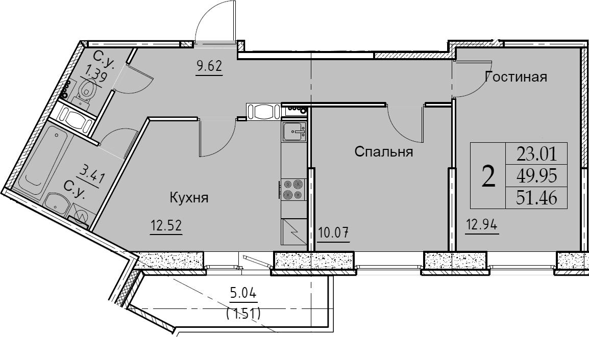 2-к.кв, 51.46 м², 10 этаж