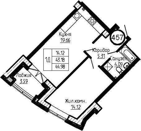 2-к.кв (евро), 46.77 м²