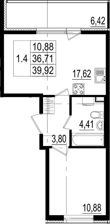 2Е-комнатная, 36.71 м²– 2