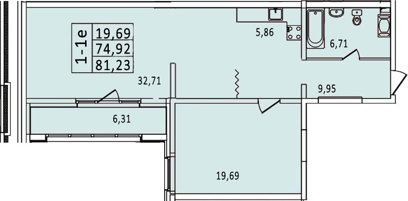2-к.кв (евро), 87.54 м²
