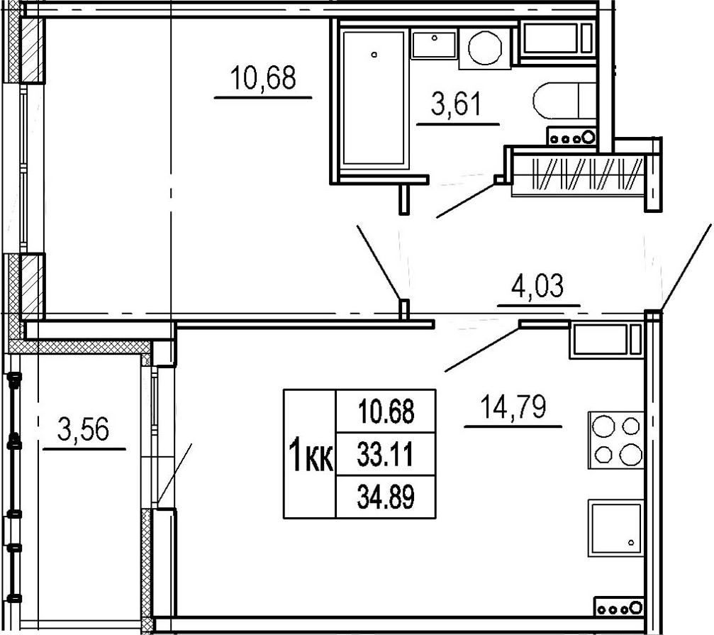 2Е-комнатная, 33.11 м²– 2