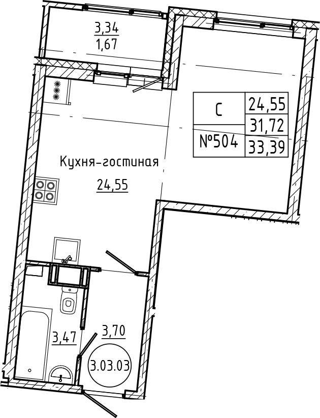Студия, 33.39 м²– 2