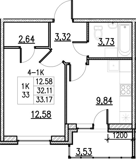 1-к.кв, 33.17 м²