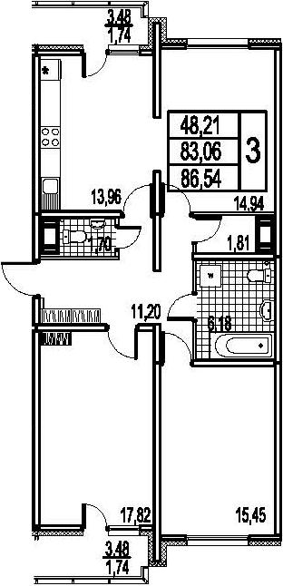 3-к.кв, 90.02 м²