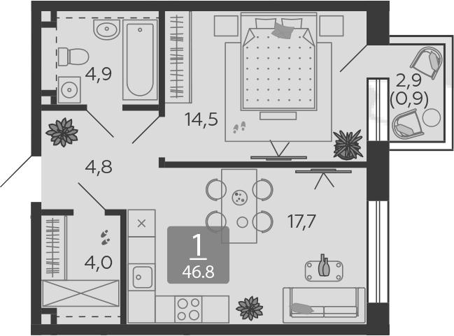 2Е-к.кв, 46.8 м², 15 этаж