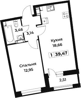 2Е-к.кв, 39.47 м², от 9 этажа