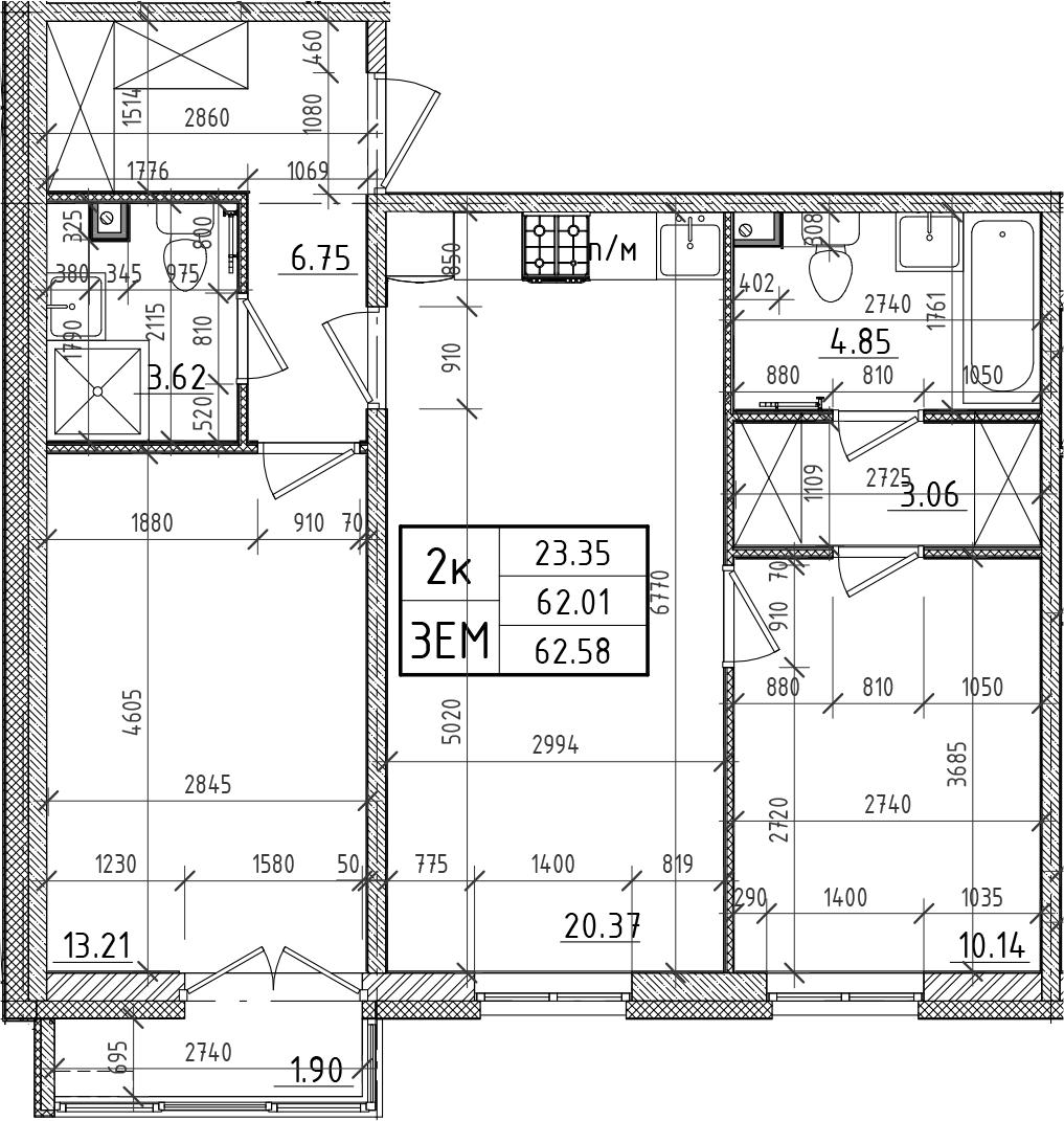 3Е-к.кв, 62.01 м²