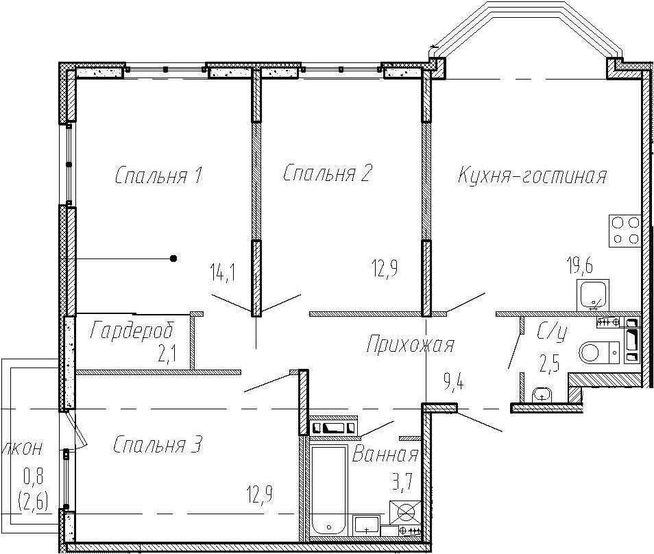 4Е-комнатная, 77.2 м²– 2