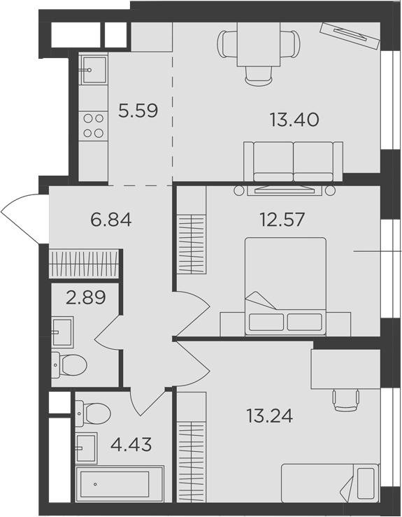 3Е-к.кв, 58.96 м²