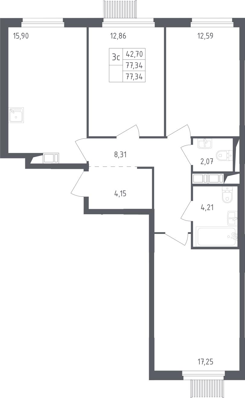 4Е-к.кв, 77.34 м², 9 этаж