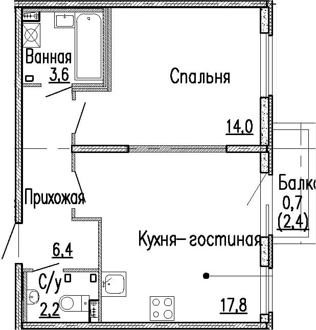 2-к.кв (евро), 46.4 м²
